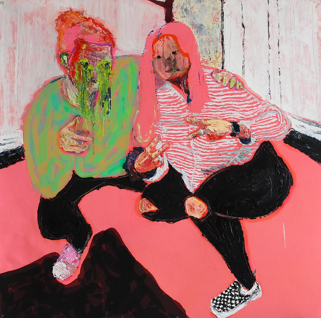 Painting of two girls stylized with vibrant pink and puke green, thickly painted in oil.