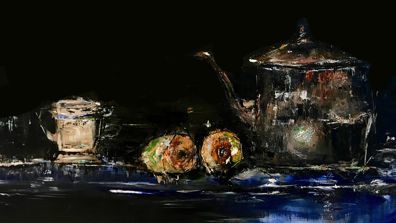 Oil painting of a still life with a black background