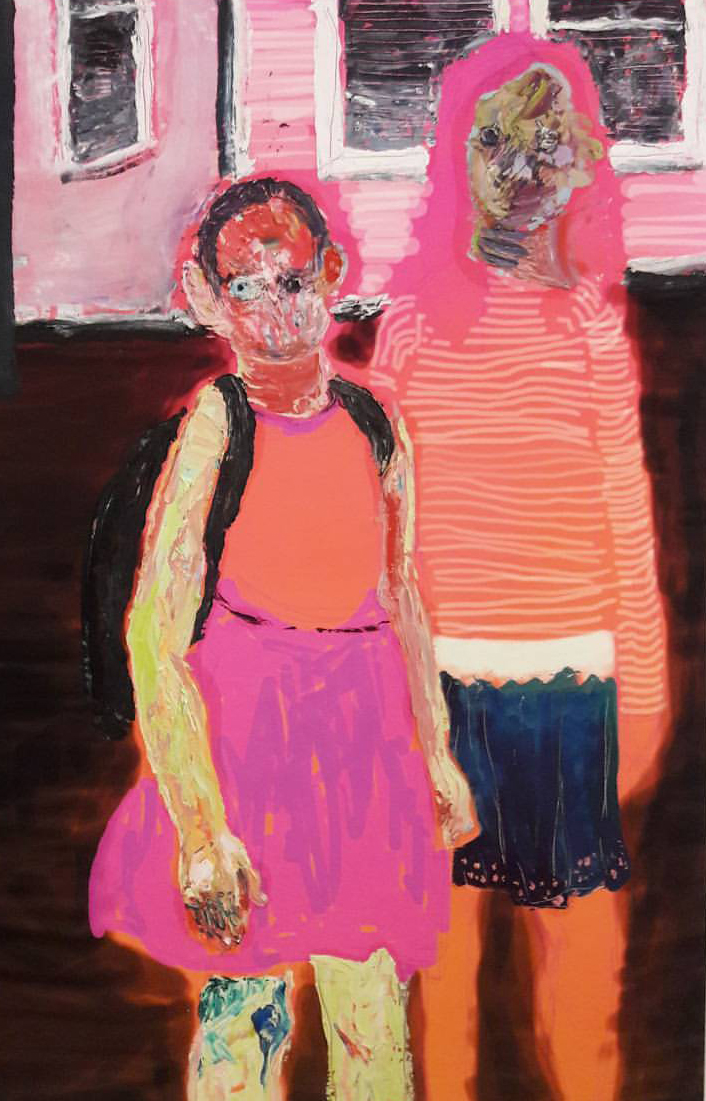 Abstract painting of two figures with distorted faces