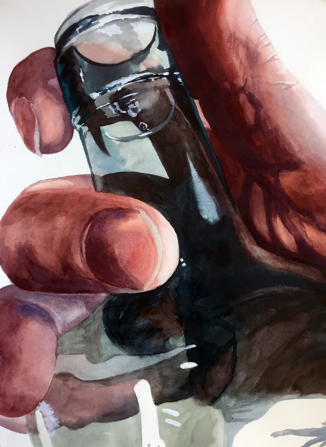 Watercolor of a hand holding a glass bottle