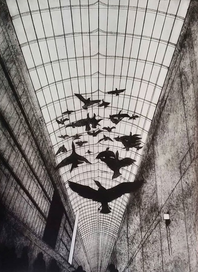 Etching in black and white of birds flying up into a gridded ceiling