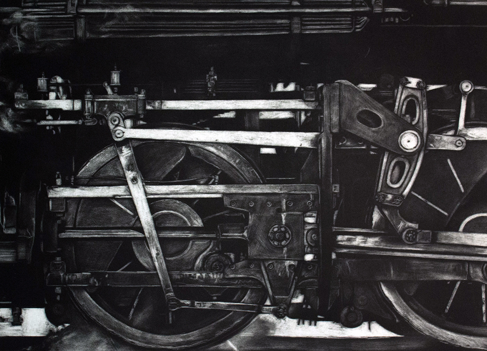 Black and white etching of a train wheel