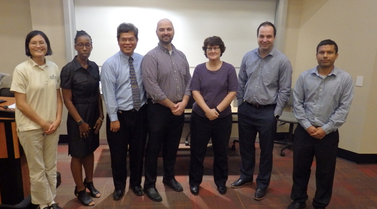 (L to R) Dr. Quin Geng, Assistant Dean Paige M. Brookins, Dr. Gary Chao, Galen Wolslagle, Assistant Dean Kim O'Neill, Dr. Muratcan Erkul, Dr. Rajeev Kumar.