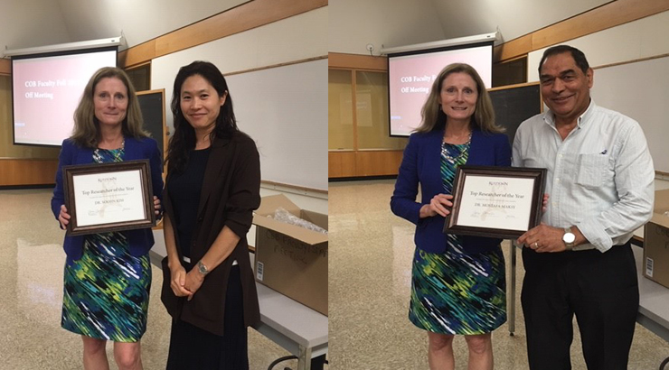 "Dr. Soojin Kim and Dr. Mostafa Maksy recieve ""Top Researcher of the Year"" Awards from Dean Anne Carroll."