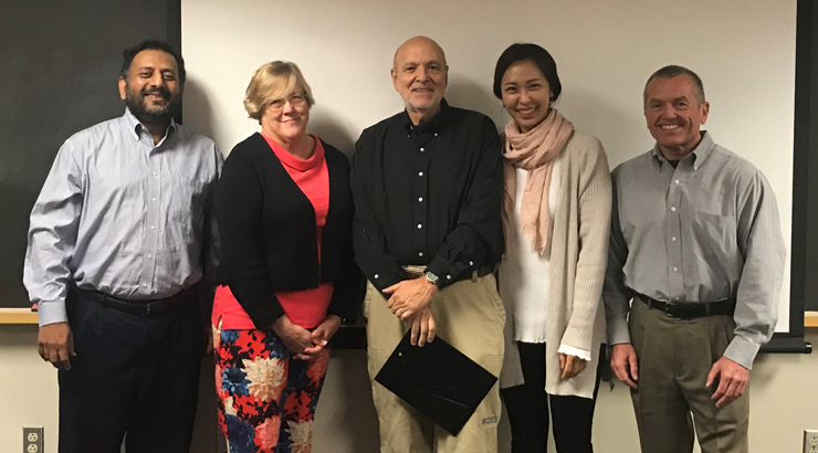 (L to R) Dr. Feisal Murshed, Dr. Therese Maskulka, Dr. Victor Massad, Dr. Eun Kang, Prof. Gerard Kelly.
