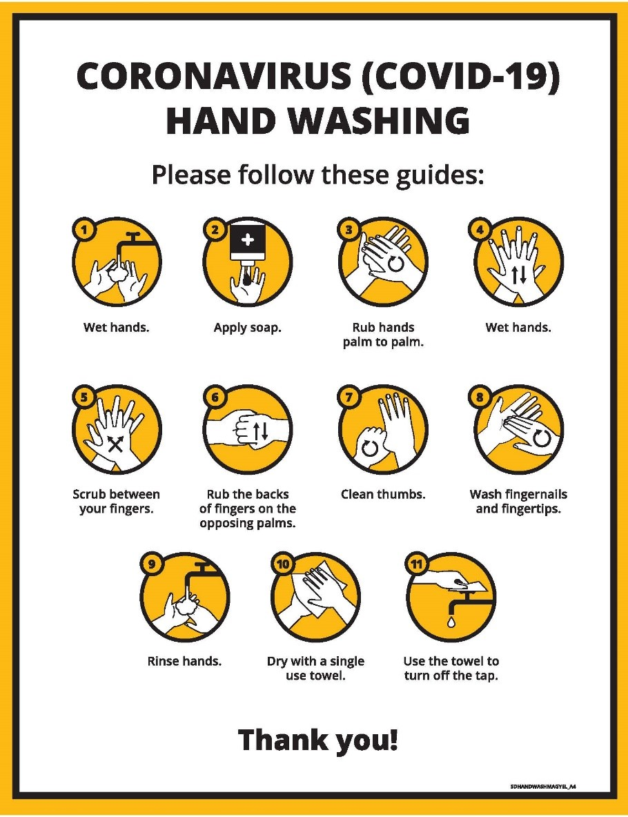 "Coronavirus (COVID-19) Hand washing. ""Please follow these guidelines""Graphical icons accompany each step: 1. wet hands, 2. apply soap, 3 rub hands, palm to palm, 4. wet hands, 5. scrub between your fingers, 6. rub backs of fingers on the opposing palms, 7. clean thumbs, 8. wash fingernails and fingertips, 9. rinse hands, 10. dry with a single use towel, 11. use the towel to turn off the tap.  Thank you!"