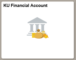 "Square button from MyKU homepage. KU Reads ""Financial Account"" with image of Bank and Money bags under it."