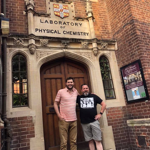 Guy and Dr. Johnson outside Cambridge building