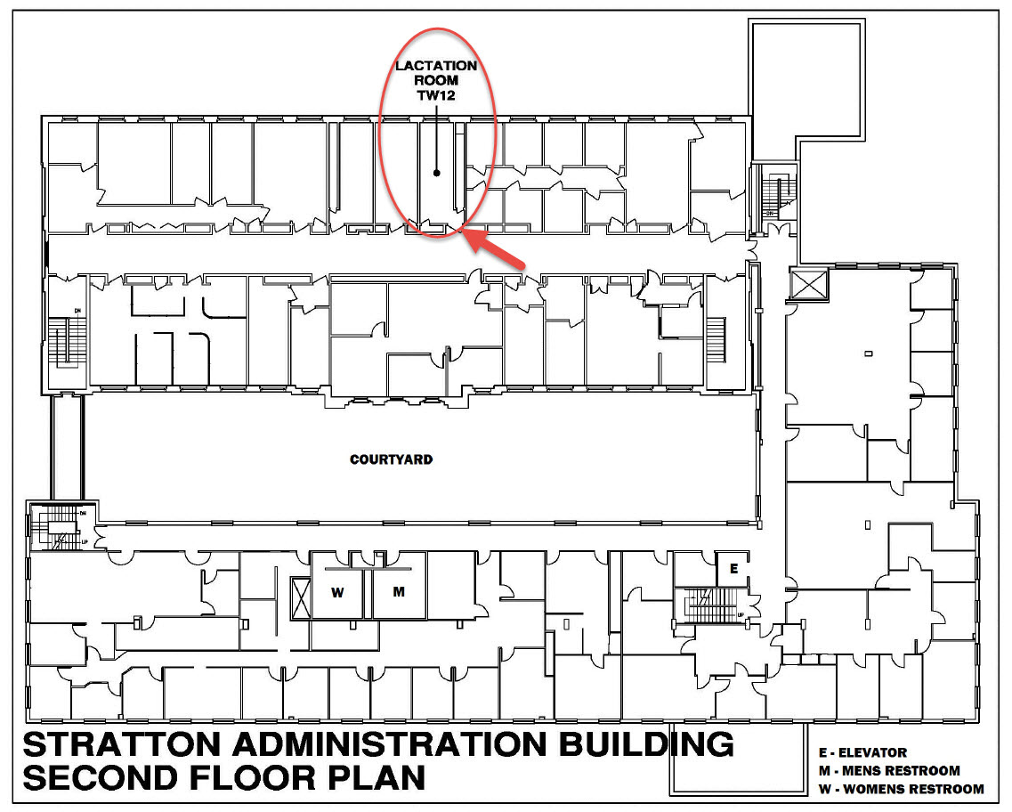 Stratton Site Map to Lactation Room