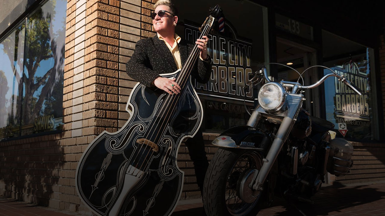 Lee Rocker with Bass and Motorcycle