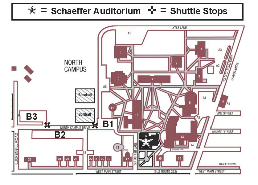 partial map of campus, showing where Schaeffer Auditorium and best parking is located to attend KU Presents! shows.