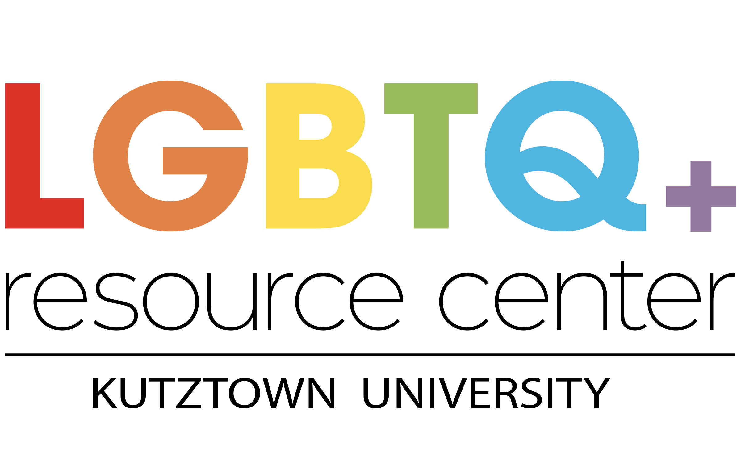 LGBTQ Resource Center logo in rainbow colors