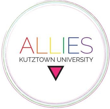 Kutztown University Allies Logo on multicolored circle with pink triangle underneath