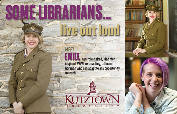 "Female Student in wearing military uniform. ""Some Librarians live out loud, Meet Emily, a purple haired, Mad Men inspired, WWII re-enacting, tattooed librarian who can adapt to any opportunity to teach."""