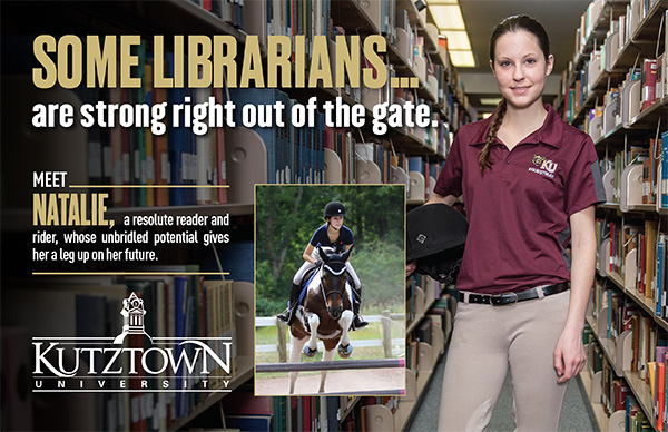 "Female Student in library. ""Some Librarians are strong out of the gate, meet Natalie, a resolute reader and rider, whose unbridled potential gives her a leg up on her future"