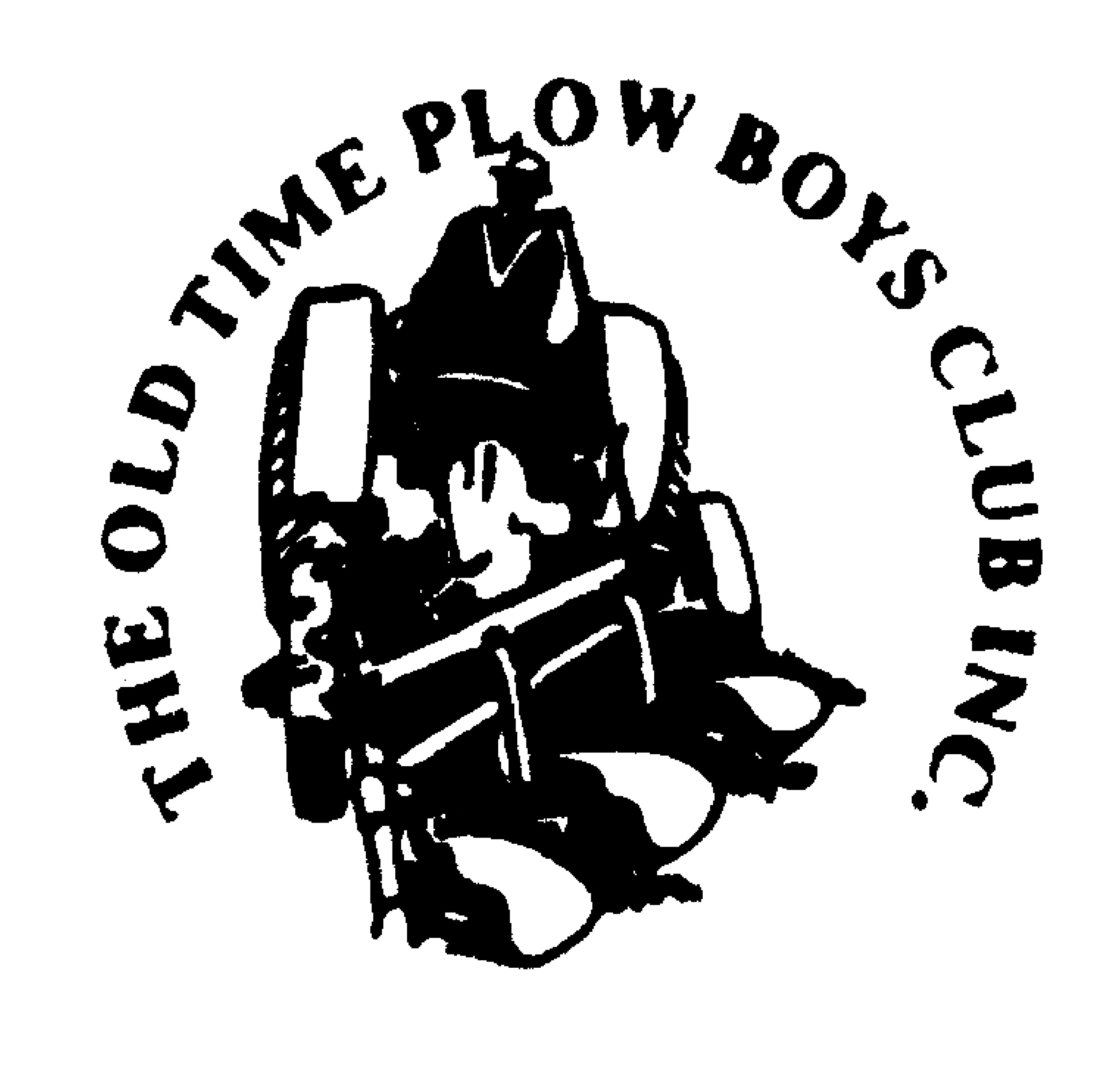 The Old Time Plow Boys logo, featuring a vector of a man on a tractor with a plow