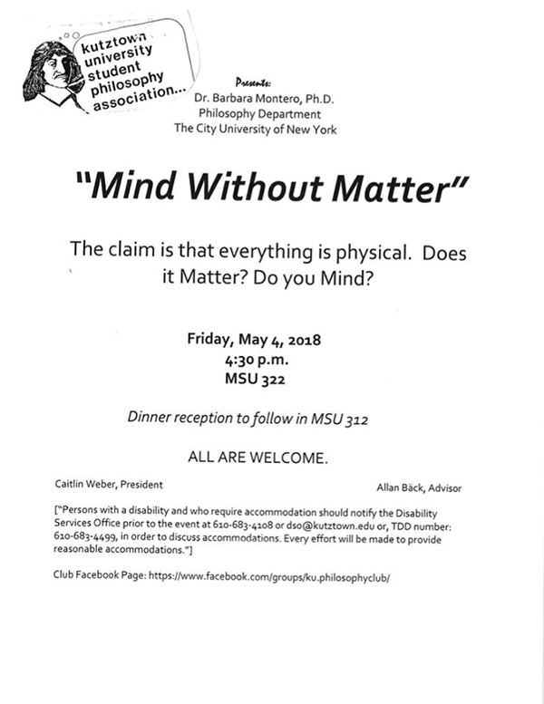 "Poster of ""Mind Without Matter"" Talk"
