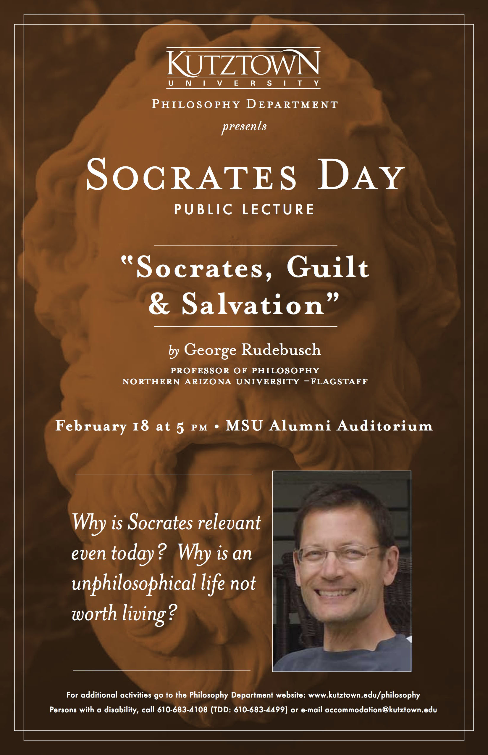 "A Poster of Philosopher's Day 2013[Socrates Day public lecture: ""Socrates, Guilt & Salvation""]; by Dr. George Rudebusch"