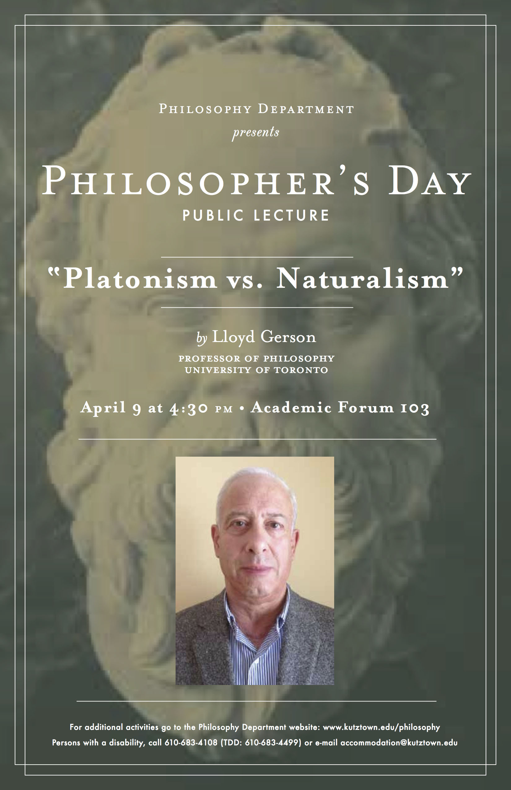 "A Poster of Philosopher's Day 2014. Public lecture: ""Platonism vs. Naturalism"" by Dr. Lloyd Gerson"