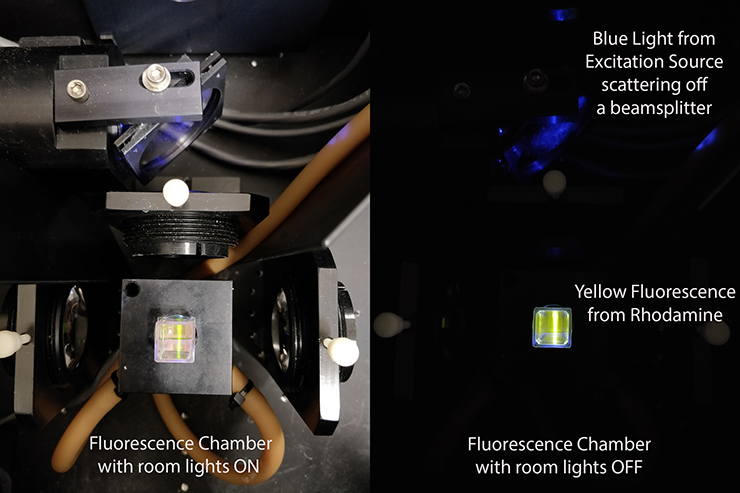 Glowing sample inside a spectrometer chamber