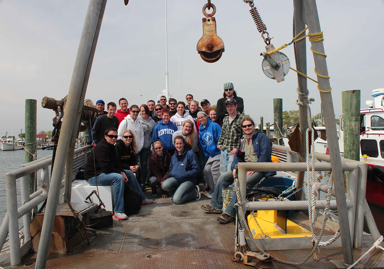 Parker ship and students with the CHIRP sonar in the foreground