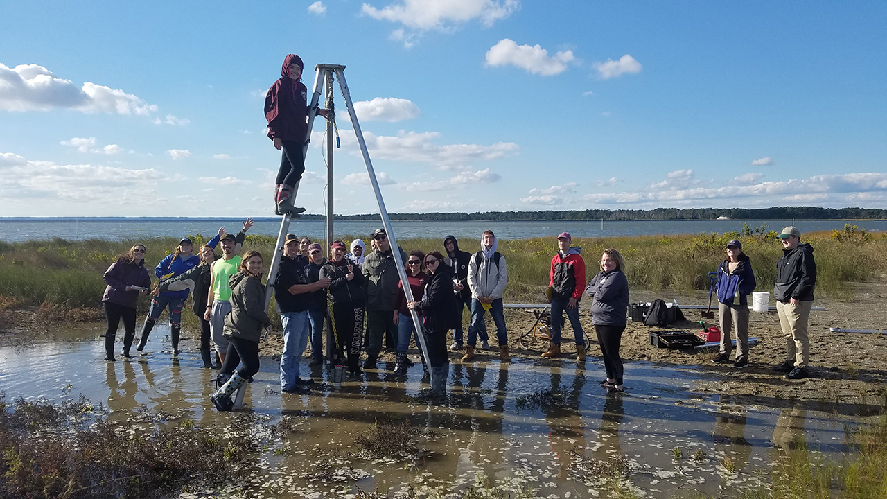 Students surrounding the vibracore system in the salt marsh with a student on top of the tripod