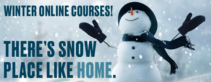 "snow covered Kutztown welcome sign with graphics ""Stay Golden with Winter Online Courses!"""