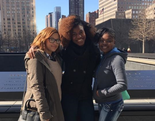 Three female students in New York City