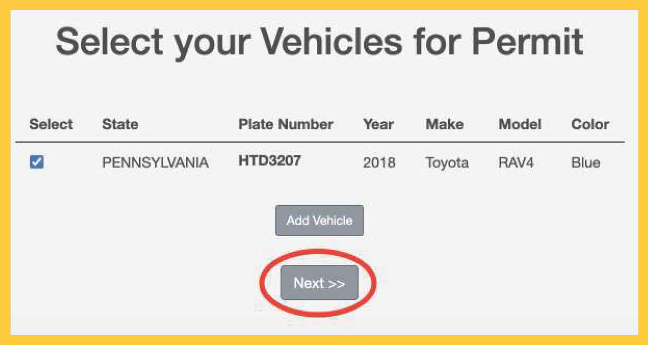 Select your Vehicles for permit with the Next >> button circled