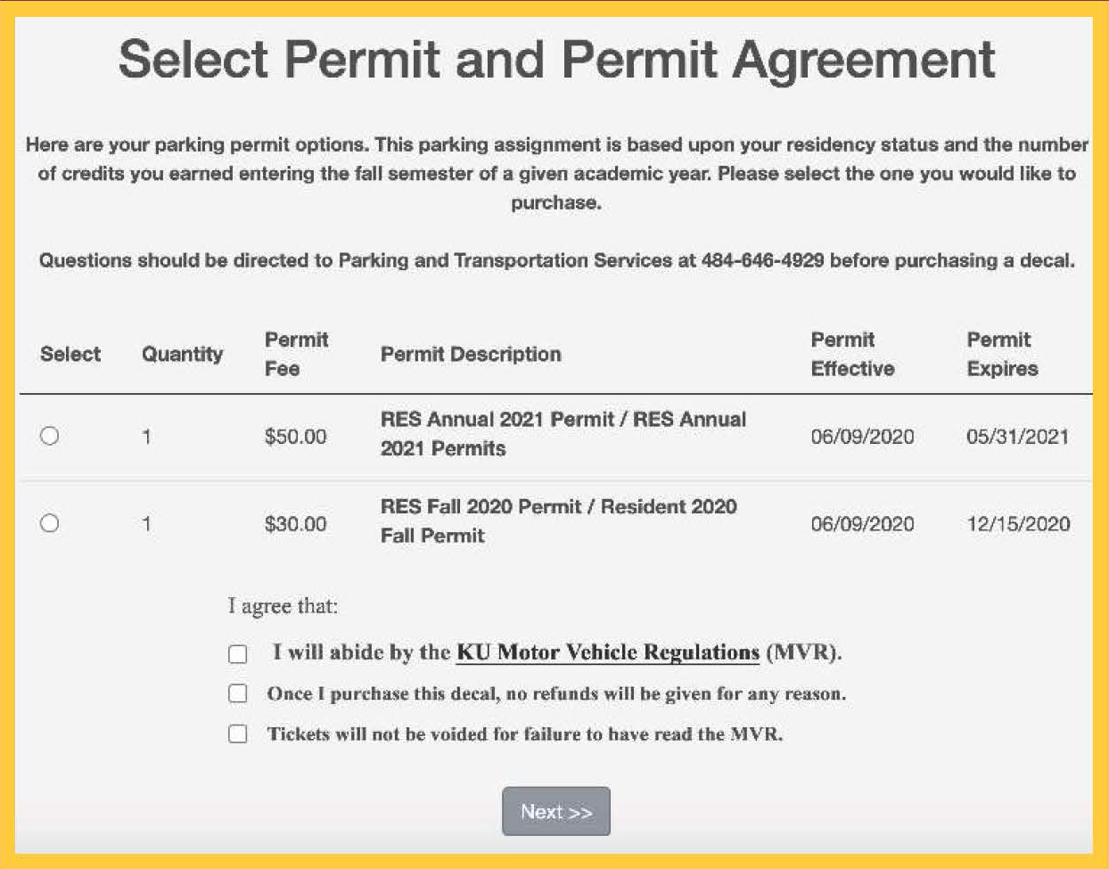 Permit agreement form