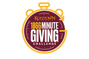 Drawing of a maroon and gold stopwatch with the words: Kutztown University 1866 Minute Giving Challenge.