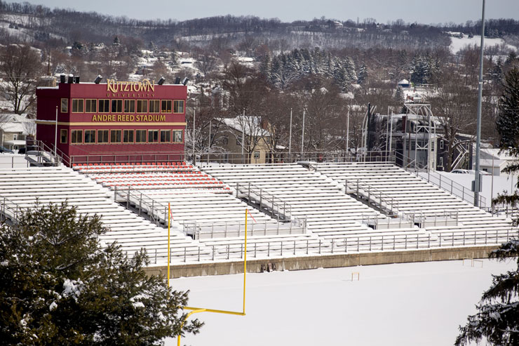 View of snow covered Andre Reed Stadium and surrounding countryside.