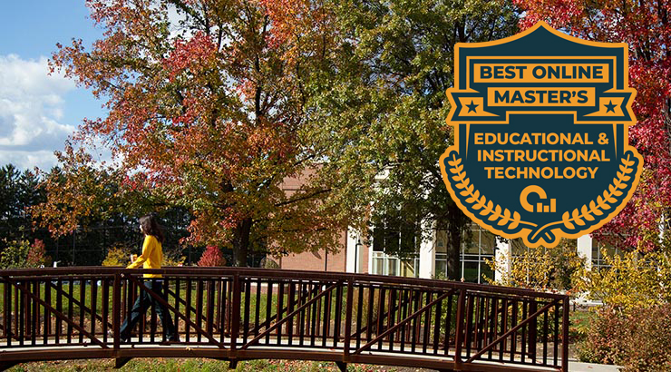 Boehm Bridge with logo of Best Online Master's Educational & Instructional Technology