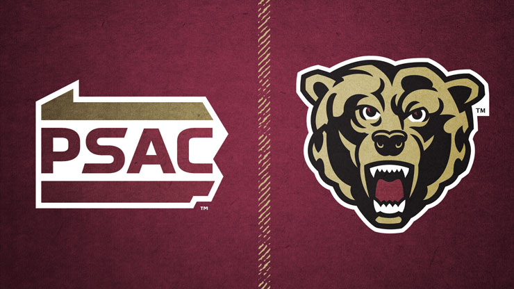Rectangular image with maroon background. On the left, is the PSAC logo, an outline of the keystone state with the letters P, S, A and C, in between the upper an lower border. To the left, is the Kutztown University Athletic logo, the face of a golden bear.