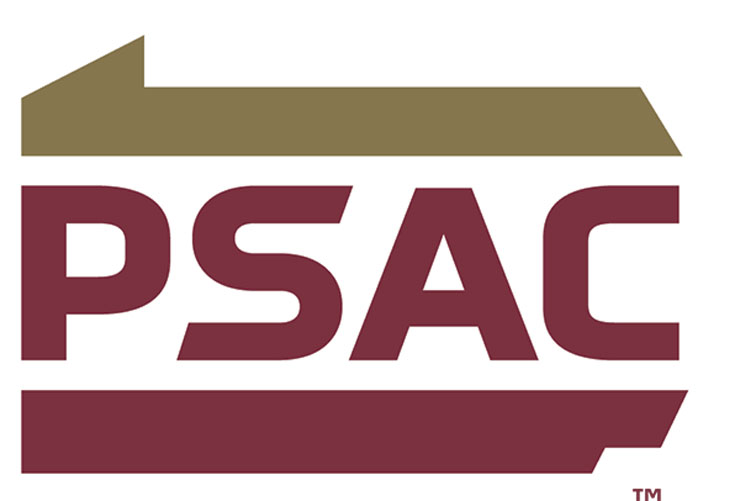 PSAC Logo: Top and lower shape of Pennsylvania state border; top border, light brown/gold; bottom border, maroon. Sandwiched in between is P S A C, all maroon capital letters.