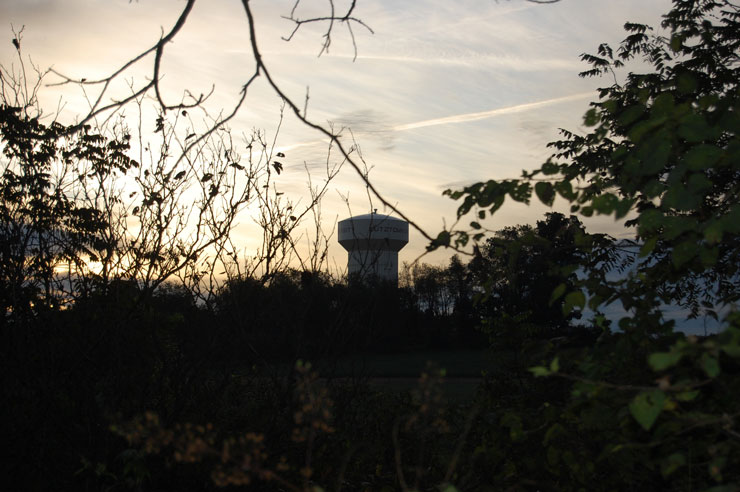 Later summer view of Kutztown University water tower through the brush and trees of the KU Ecoplot, before dusk.