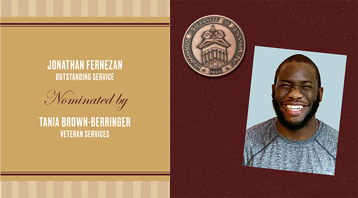 Rectangular image: on the left on gold background are the words: Jonathan Fernezan, Outstanding Service, nominated by Tania Brown-Berringer, Veterans Services. The right of the image is maroon background with an image of a copper medallion in the upper left corner and a square headshot image of Jonathan Fernezan on the right.