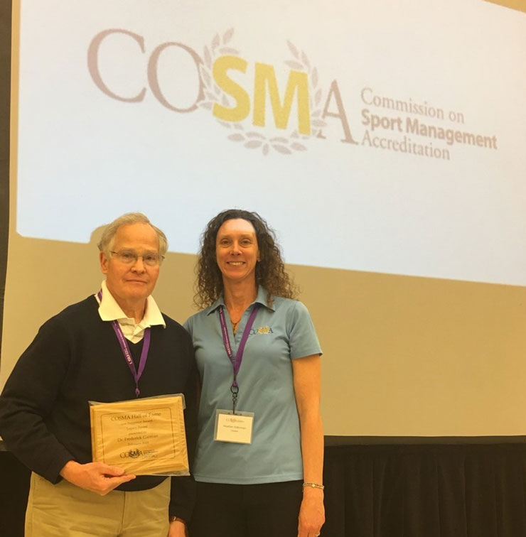 Dr. Fred Garman Inducted into COSMA (Commission on Sport Management Accreditation) Hall of Fame