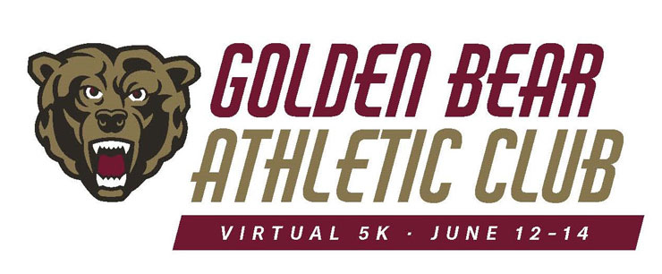 Image of the KU bear athletic bear icon with the words golden bear athletic club in large text of maroon and gold Virtual 5K | June 12-14 is in smaller white text placed over a maroon background.