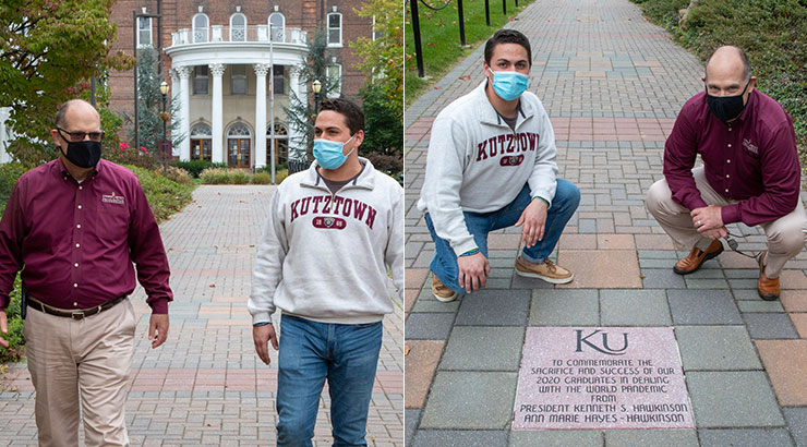 Left image: President Hawkinson and SGB president, Agostino D'Ancona walk the brick pathway towards Alumni Plaza. Entrance of Old Main is behind them.  Right image: D'Ancona and Hawkinson pose for photo with brick dedicated by the Hawkinson Family to the KU Class of 2020.