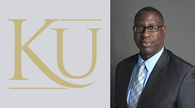 KU in gold letters on the left. To the right, professional portrait of Dr. Hilton in business attire.