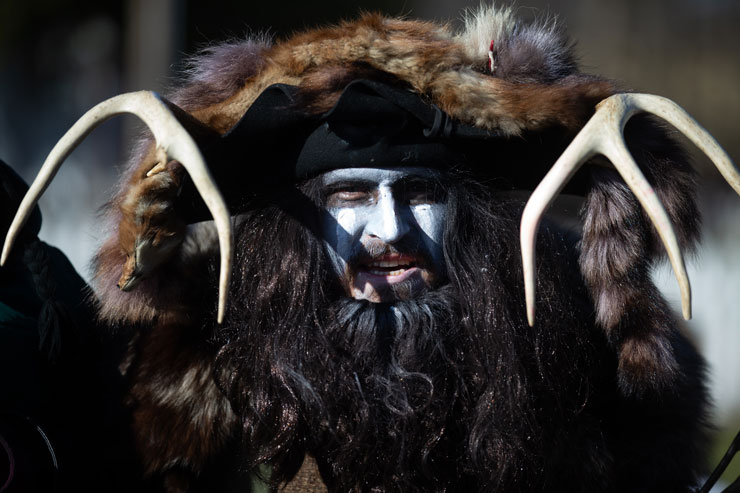 Fur wearing, antlered Belsnickel, appeared during 2019 Christmas on the Farm, Pennsylvania German Cultural Heritage Center.