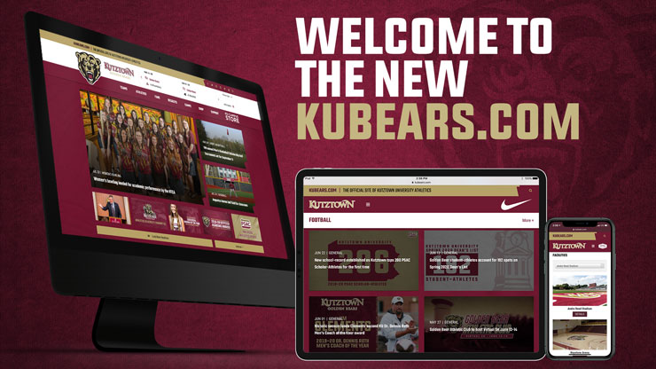 WELCOME TO THE NEW KUBEARS.COM - An image of the new KUBears.com website on a computer, handheld device, and mobile device all on maroon background with an image of the athletic bearhead logo embedded.