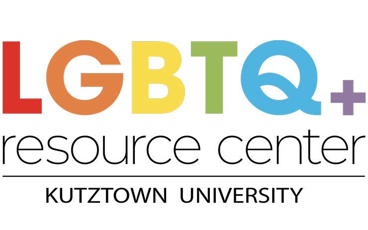 Logo for renamed LGBTQ plus resource center, Kutztown University. Capital L red block letter; Capital G tan block letter ; Capital B yellow block letter; Capital T olive green block letter; Capital Q sky blue block letter; purple plus sign follows. Resource Center, lowercase black type, underlined, Kutztown University, below line, all caps, black type.
