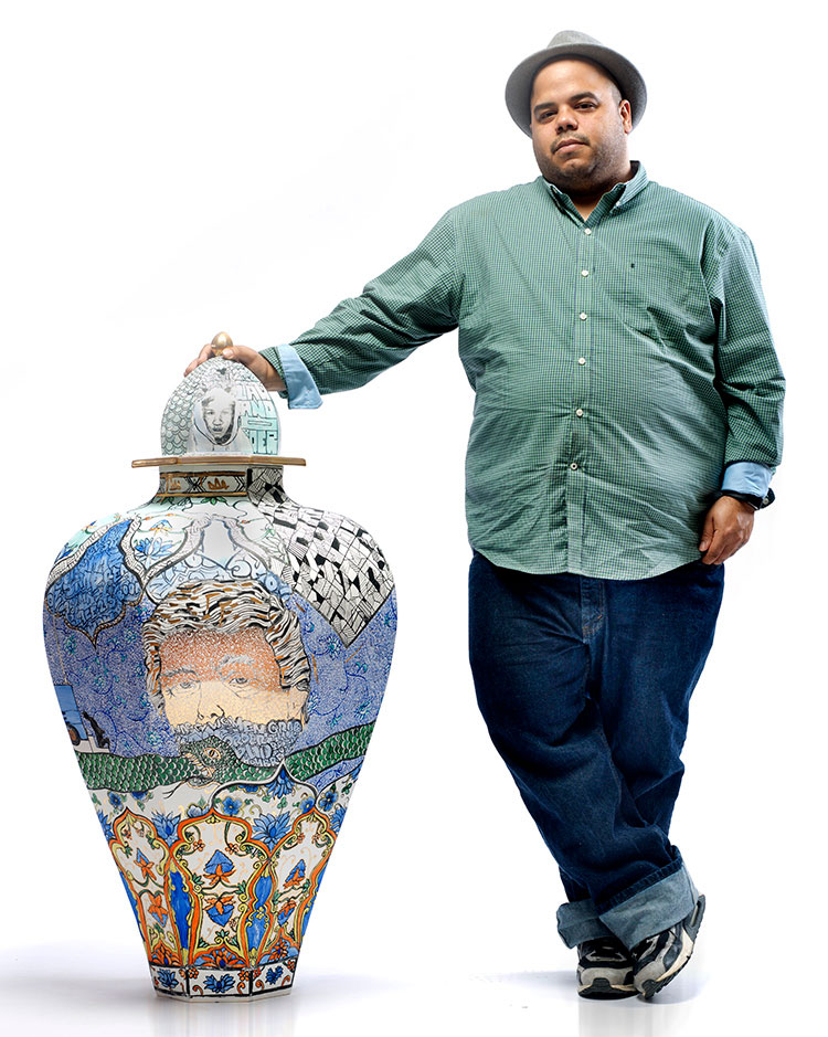 Artist, ceramist, social activist, spoken word poet and educator Roberto Lugo will work in the ceramics studio and present a lecture Friday, Oct. 4. Lugo uses porcelain, illuminating its aristocratic surface with imagery of poverty, inequality and social and racial injustice.