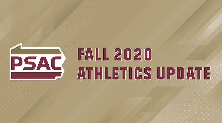 "Background with shades of gold digital designs. The PSAC logo is to the left with bold, maroon, capital print letters stating ""Fall 2020 Athletics Update."""