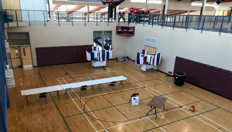 Image of inside gymnasium, Kutztown University's Student Recreation Center,  prepared site for the Maxatawny Township primary election, Tuesday, June 2.