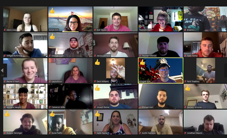 Screenshot of 16 Kutztown University student participants in Zoom session