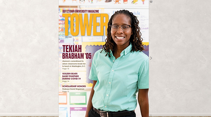 The cover image of Tower: Fall 2020, Kutztown University's magazine