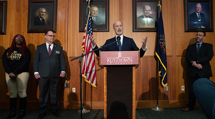 Governor Wolf at KU podium.